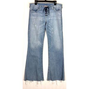 True Religon Blue Bobby Laceup flare Jeans 8955